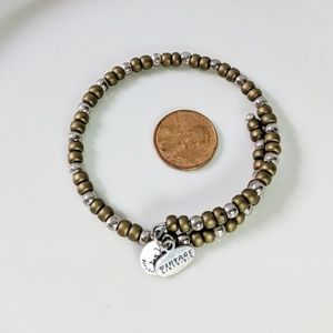 Alex and Ani Gold & Silver Beaded Wrap Bracelet